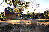 Pantanal, Mato Grosso State, Brazil; small thatched mud walled house with basketwork cages outside; three children.
