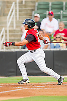 Carlos Sanchez #29 of the Kannapolis Intimidators follows through on his swing against the Lakewood BlueClaws at Fieldcrest Cannon Stadium on July 16, 2011 in Kannapolis, North Carolina.  The Intimidators defeated the BlueClaws 5-3.   (Brian Westerholt / Four Seam Images)