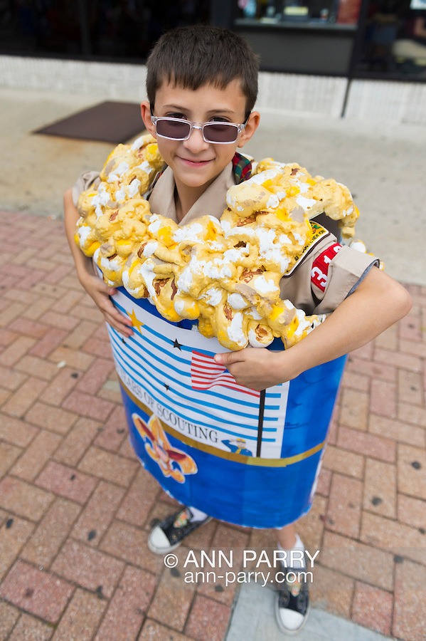 Sept. 22, 2012 - Bellmore, New York U.S. - Wearing a Bag of Popcorn costume, is cub scout from North Bellmore Cub Scout Troop 313, as troop sells popcorn to raise funds at the 26th Annual Bellmore Family Street Festival. More people than the well over 120,000 who attended last year are expected, according to the Festival Coordinator.