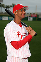 February 24, 2010:  Infielder Ozzie Chavez (72) of the Philadelphia Phillies poses during photo day at Bright House Field in Clearwater, FL.  Photo By Mike Janes/Four Seam Images