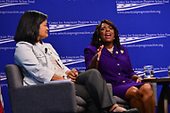 Washington, DC - July 16, 2018: U.S. Representative Terri Sewell (D-AL) participates in a pro-voter and anti-corruption congressional discussion moderated by Winnie Stachelberg at the Center for Amercian Progress in Washington, DC.. July 16, 2018.  (Photo by Don Baxter/Media Images International)