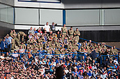 9th September 2017, Ibrox Park, Glasgow, Scotland; Scottish Premier League football, Rangers versus Dundee; Military personnel watch the match as guests of Rangers during the club's Armed Forces Day