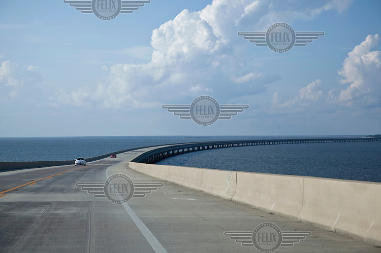 The bridge connecting St George's Island to the northern Florida mainland.