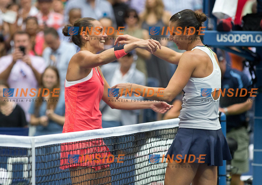 Roberta Vinci congratulated the Winner Flavia Pennetta ITA Final Final Tennis U.S. Open 2015 Grand Slam ITF ATP Tennis men WTA Tennis women Flushing Meadows New York New York USA 12 September 2015 Juergen Hasenkopf <br /> Flushing Meadows 12/9/2015 <br /> Tennis US Open Finale donne tra Flavia Pennetta e Roberta Vinci <br /> Flavia Pennetta vince gli US Open <br /> Foto Imago / Insidefoto<br /> ITALY ONLY