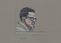 Montreal - CANADA - File images -  An artist's sketch shows Luka Rocco Magnotta, at his trial for the murder of Lin Jun,, September 30, 2014.<br /> <br />  It is one of the most grisly and sensational murder trials in Canadian history<br /> <br /> Image :  Agence Quebec Presse  - Atalante