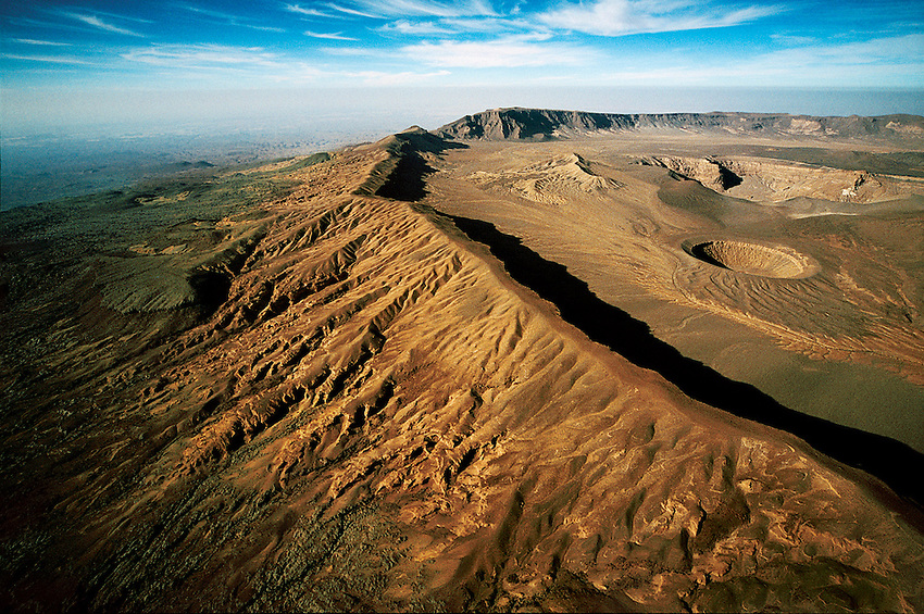Aerial photo of Emi Koussi volcano crater, TIbesti region of northern Chad.