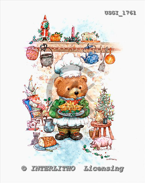 GIORDANO, CHRISTMAS ANIMALS, WEIHNACHTEN TIERE, NAVIDAD ANIMALES, Teddies, paintings+++++,USGI1761,#XA#