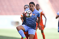 Houston, TX - Saturday May 13, 2017: Sky Blue FC forward Samantha Kerr (20), Houston Dash defender Cari Roccaro (5) during a regular season National Women's Soccer League (NWSL) match between the Houston Dash and Sky Blue FC at BBVA Compass Stadium. Sky Blue won the game 3-1.