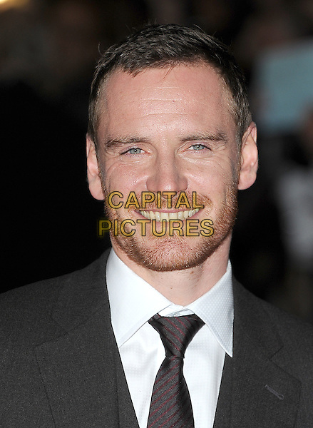 Michael Fassbender.'A Dangerous Method' premiere, 55th BFI London Film Festival, Odeon West End cinema, Leicester Square, London, England. .24th October 2011.headshot portrait white grey gray shirt tie stubble facial hair .CAP/BEL.©Tom Belcher/Capital Pictures.