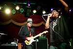 BROOKLYN  -- MARCH 05, 2011:  Nigel Hall (R) sings with Soulive's Eric Krasno during their Bowlive performance at the Brooklyn Bowl on March 05, 2011 in Brooklyn.  (PHOTOGRAPHS BY MICHAEL NAGLE)