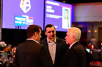 Philadelphia, PA - Thursday January 18, 2018: Vlatko Andonovski, Tom Sermanni during the 2018 NWSL College Draft at the Pennsylvania Convention Center.