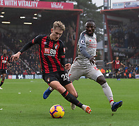 Liverpool's Naby Keita (right) battles for possession with Bournemouth's David Brooks (left) <br /> <br /> Photographer David Horton/CameraSport<br /> <br /> The Premier League - Bournemouth v Liverpool - Saturday 8th December 2018 - Vitality Stadium - Bournemouth<br /> <br /> World Copyright © 2018 CameraSport. All rights reserved. 43 Linden Ave. Countesthorpe. Leicester. England. LE8 5PG - Tel: +44 (0) 116 277 4147 - admin@camerasport.com - www.camerasport.com