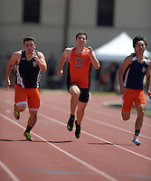 Apr 11, 2015; Los Angeles, CA, USA; Kyle Dalton of Occidental College places second in a 100m heat in 11.42 in a SCIAC multi dual meet at Occidental College. From left: Faraaz Rashidi  (Pomona-Pitzer), Dalton and Alex Chong (Pomona-Pitzer). Photo by Kirby Lee