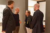 "Pictured L-R: Musician Jim Sclavunos, Artist Stefanos Rokos, Benaki Museum trustee Despina Geroulanou and art dealer Peter Bernaets. Wednesday 03 April 2019<br /> Re: Press call before the opening of Stefanos Rokos' exhibition ""No More Shall We Part"" with paintings based on the 2001 Nick Cave and The Bad Seeds album with the same title, Benaki Museum, Athens, Greece."