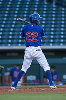 AZL Cubs 1 Albert Hinirio (22) at bat during an Arizona League game against the AZL Athletics Gold at Sloan Park on June 20, 2019 in Mesa, Arizona. AZL Athletics Gold defeated AZL Cubs 1 21-3. (Zachary Lucy/Four Seam Images)