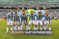 East Rutherford, NJ - Sunday June 26, 2016: Argentina Starting Eleven prior to a Copa America Centenario finals match between Argentina (ARG) and Chile (CHI) at MetLife Stadium.