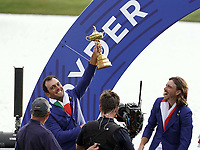 Francesco Molinari (Team Europe) celebrate at the Ryder Cup, Le Golf National, Iles-de-France, France. 30/09/2018.<br /> Picture Claudio Scaccini / Golffile.ie<br /> <br /> All photo usage must carry mandatory copyright credit (&copy; Golffile | Claudio Scaccini)