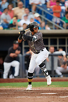 Quad Cities River Bandits shortstop Miguelangel Sierra (4) at bat during a game against the West Michigan Whitecaps on July 22, 2018 at Modern Woodmen Park in Davenport, Iowa.  West Michigan defeated Quad Cities 6-4.  (Mike Janes/Four Seam Images)