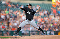 Chicago White Sox starting pitcher Derek Holland (45) in action against the Detroit Tigers at Comerica Park on June 2, 2017 in Detroit, Michigan.  The Tigers defeated the White Sox 15-5.  (Brian Westerholt/Four Seam Images)