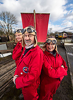 BNPS.co.uk (01202 558833)<br /> Pic: PhilYeomans/BNPS<br /> <br /> Phil and his team prepare for another test run on the Midland Railway near Butterley in Derbyshire.<br /> <br /> To Hull and back...eccentric Inventor Phil Mathison has recreated the almost forgotten 'Spurn Landship'.<br /> <br /> Railway enthusiast Phil Mathison, 68, has researched and rebuilt the sail powered Spurn Landship, which once ferried people out along the windswept Spurn Peninsula east of Hull between the wars.<br /> <br /> The original 13 ft landship, made up of a large sail mounted on a wheeled trolley (bogie), could travel at a hair-raising 40mph. <br /> <br /> Mr Mathison, a retired economist, has been assisted on the four year project by his wife Mary, 68, and their Norwegian friend Torkel Larsen, 51. The trio have dubbed themselves the 'Spurnfleet Command' and wear astronaut-like uniforms.<br /> <br /> Despite exhaustive trials Phil and his team have only attained a top speed of 6mph so far, mainly due to fluctuating wind conditions on the test track in Derbyshire.