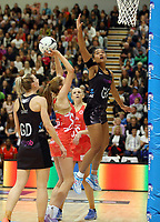 10.09.2017 Silver Ferns Temalisi Fakahokotau in action during the Taini Jamison Trophy match between the Silver Ferns and England at Pettigrew Green Arena in Napier. Mandatory Photo Credit ©Michael Bradley.