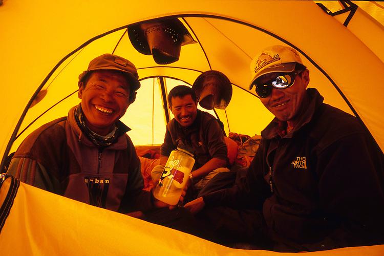 Nima, Pemba and Galzen at Camp 1, Saribung, Nepal, 2008