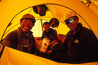 Nima, Pemba and Galzen at Camp 1, Saribung, Nepal, 2008