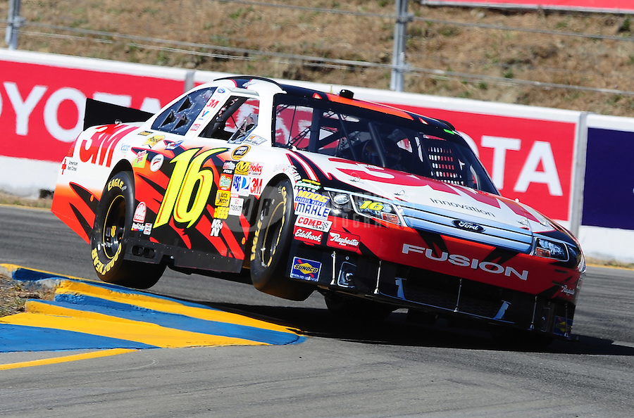 Jun. 19, 2010; Sonoma, CA, USA; NASCAR Sprint Cup Series driver Greg Biffle during practice for the SaveMart 350 at Infineon Raceway. Mandatory Credit: Mark J. Rebilas-
