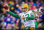 14 December 2014: Green Bay Packers quarterback Aaron Rodgers makes a forward pass in the second quarter against the Buffalo Bills at Ralph Wilson Stadium in Orchard Park, NY. The Bills defeated the Packers 21-13, snapping the Packers' 5-game winning streak and keeping the Bills' 2014 playoff hopes alive. Ed Wolfstein Photo. Original shot Nikon D4 RAW (NEF)