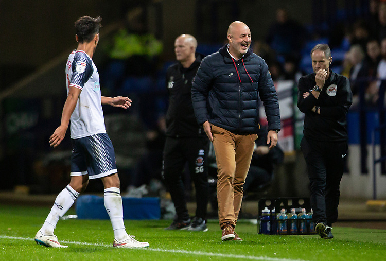 Bolton Wanderers' manager Keith Hill smiles<br /> <br /> Photographer Andrew Kearns/CameraSport<br /> <br /> The EFL Sky Bet League One - Bolton Wanderers v Blackpool - Monday 7th October 2019 - University of Bolton Stadium - Bolton<br /> <br /> World Copyright © 2019 CameraSport. All rights reserved. 43 Linden Ave. Countesthorpe. Leicester. England. LE8 5PG - Tel: +44 (0) 116 277 4147 - admin@camerasport.com - www.camerasport.com