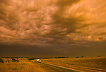 Casita travel trailer along SR 41 during a break from a sever thunderstorm at sunset.