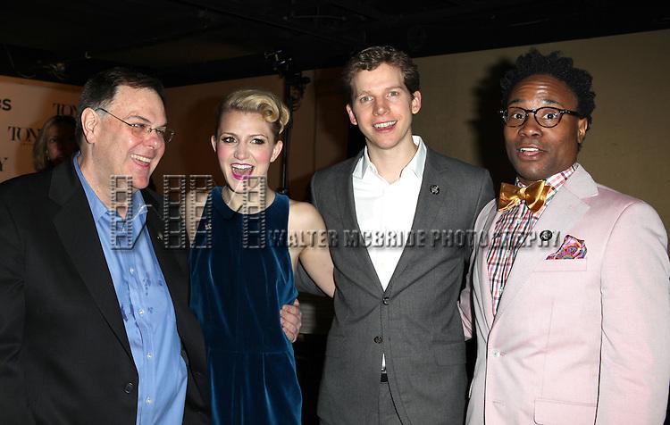 Gregg Barnes (Kinky Boots costume designer), Annaleigh Ashford, Stark Sands & Billy Porter attending the 2013 Tony Awards Meet The Nominees Junket  at the Millennium Broadway Hotel in New York on 5/1/2013...