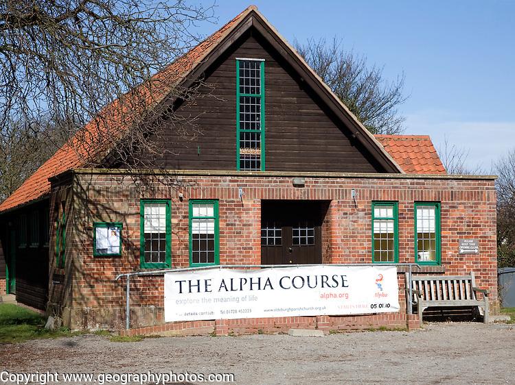 The Alpha Course sign in church hall, Aldeburgh, Suffolk