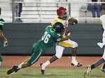 Torrance, CA 09/08/17 - Joseph Taylor III (Hawthorne #15) is tackled by South's DJ Palma (South #36) near the sideline.