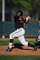 AZL D-backs Sandy Martinez (34) at bat during an Arizona League game against the AZL Mariners on July 3, 2019 at Salt River Fields at Talking Stick in Scottsdale, Arizona. The AZL D-backs defeated the AZL Mariners 3-1. (Zachary Lucy/Four Seam Images)