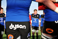 Stuart Hooper of Bath Rugby speaks to his team-mates in a huddle during the pre-match warm-up. European Rugby Champions Cup match, between RC Toulon and Bath Rugby on January 10, 2016 at the Stade Mayol in Toulon, France. Photo by: Patrick Khachfe / Onside Images