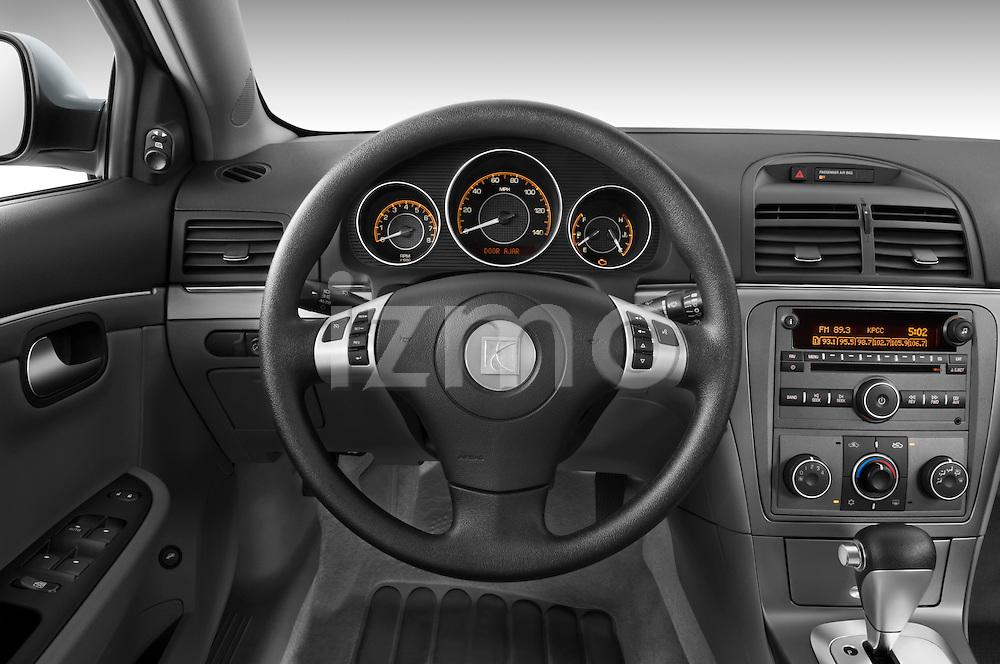 Steering wheel view of a 2008 saturn acura