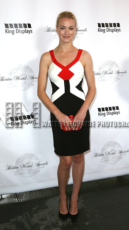 Yvonne Strahovski attending the 69th Annual Theatre World Awards at the Music Box Theatre in New York City on June 03, 2013.