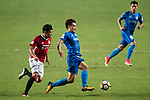 Ka Hang Leong of Pegasus (L) fights for the ball with SC Kitchee Defender Bong Jin Kim (R) during the week three Premier League match between Hong Kong Pegasus and Kitchee at Hong Kong Stadium on September 17, 2017 in Hong Kong, China. Photo by Marcio Rodrigo Machado / Power Sport Images