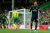 1st December 2019; Carrow Road, Norwich, Norfolk, England, English Premier League Football, Norwich versus Arsenal; Pierre-Emerick Aubameyang of Arsenal reacts as his shot goes wide - Strictly Editorial Use Only. No use with unauthorized audio, video, data, fixture lists, club/league logos or 'live' services. Online in-match use limited to 120 images, no video emulation. No use in betting, games or single club/league/player publications