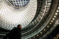 Commuters walk through the newly opened Fulton Center train station in lower Manhattan New York City, 11 November 2014. Fulton is Largest Subway Hub, The station that was partially ruined in the Sept. 11, 2001, terrorist attacks.