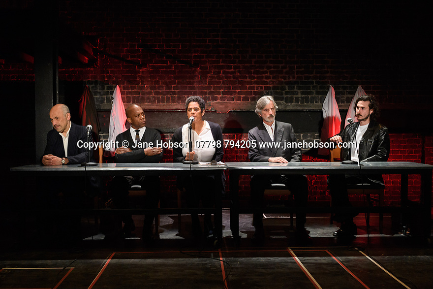 "London, UK. 10.04.2017. A brand new adaptation of Albert Camus' ""The Plague"" opens at the Arcola Theatre. Adapted and directed by Neil Bartlett. Picture shows: Joe Alessi (Mr Cottard), Burt Caesar (Grand), Sara Powell (Dr Rieux), Martin Turner (Mr Tarrou), Billy Postlethwaite (Mr Rambert). Photograph © Jane Hobson."