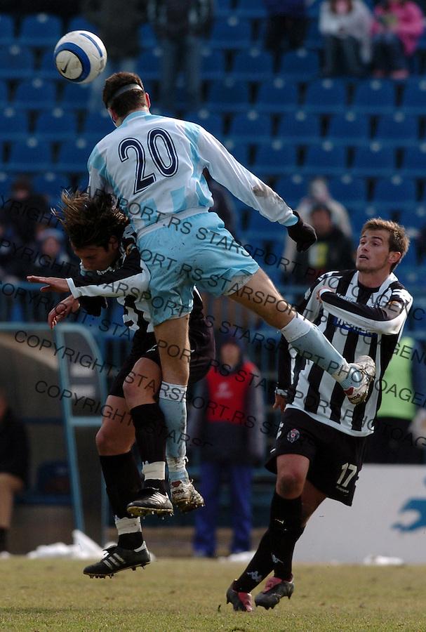 SPORT FUDBAL FOOTBALL SOCCER OFK BEOGRAD PARTIZAN BELGRADE SERBIA Milos Bajalica Radonjic Lazovic 25.2.2006. foto: Pedja Milosavljevic<br />