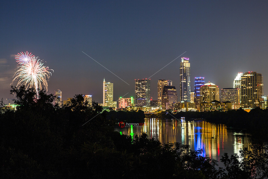 The fourth of July in Austin is a very festive time in the city. The Independence holiday features a major fireworks display over Lady Bird Lake and symphony orchestra concerts and live music concerts on Auditorium shores in downtown Austin, Texas.