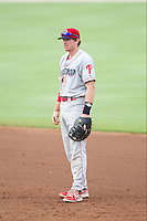 Lakewood BlueClaws first baseman Zach Green (12) on defense against the Kannapolis Intimidators at CMC-NorthEast Stadium on July 20, 2014 in Kannapolis, North Carolina.  The Intimidators defeated the BlueClaws 7-6. (Brian Westerholt/Four Seam Images)