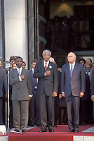 ©Chris Sattlberger / Panos Pictures..Cape Town, SOUTH AFRICA..Thabo Mbeki, Nelson Mandela and FW De Klerk outside parliament after the first multiracial elections of April 1994.