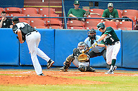 Dartmouth Big Green outfielder Nick Ruppert (1) at bat against pitcher Jordan Wilcox (44) with catcher Chris Untereiner and  umpire Rich Mehosky during a game against the Long Island Blackbirds at Chain of Lakes Stadium on March 17, 2013 in Winter Haven, Florida.  Dartmouth defeated UAB 11-4.  (Mike Janes/Four Seam Images)