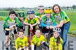 Killorglin CC cyclists front row l-r: Joe Langton, Elva Clendennan, lyra McGrath. Back row: Barry Moriarty, Tiernach O'Shea, Charlie McGillicuddy, Tadhg O'Shea, aona O'Shea and Michael o'Shea at the Nicolas Roche cycle in Killarney on Sunday