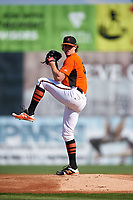 Frederick Keys starting pitcher Michael Baumann (36) delivers a pitch during the first game of a doubleheader against the Lynchburg Hillcats on June 12, 2018 at Nymeo Field at Harry Grove Stadium in Frederick, Maryland.  Frederick defeated Lynchburg 2-1.  (Mike Janes/Four Seam Images)