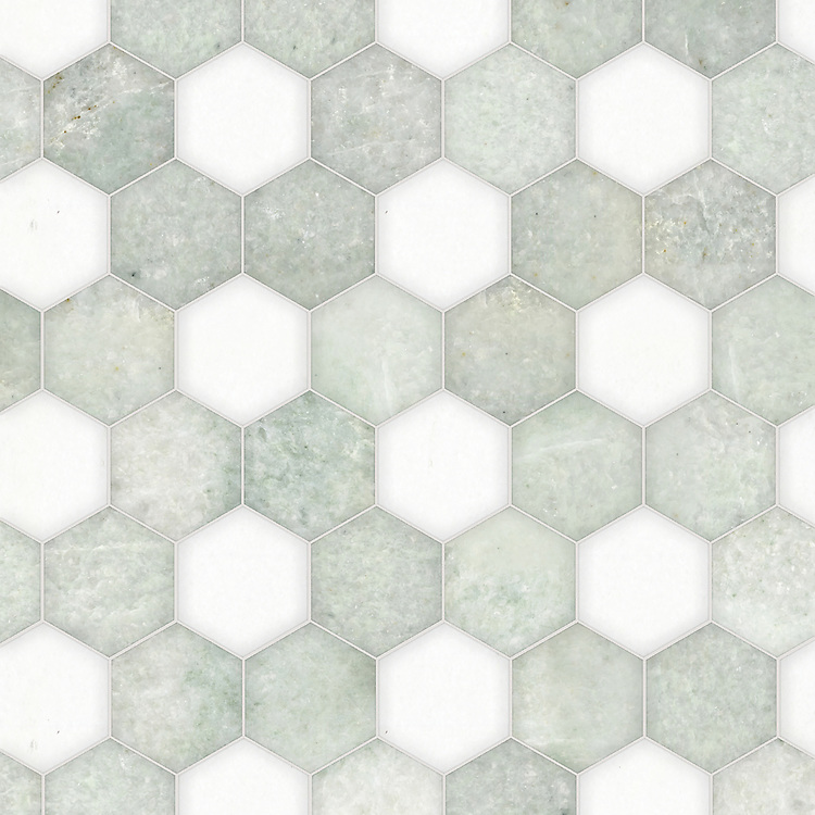 Hex, a waterjet stone mosaic, shown in polished Ming Green and Thassos, is part of the Semplice® collection for New Ravenna.